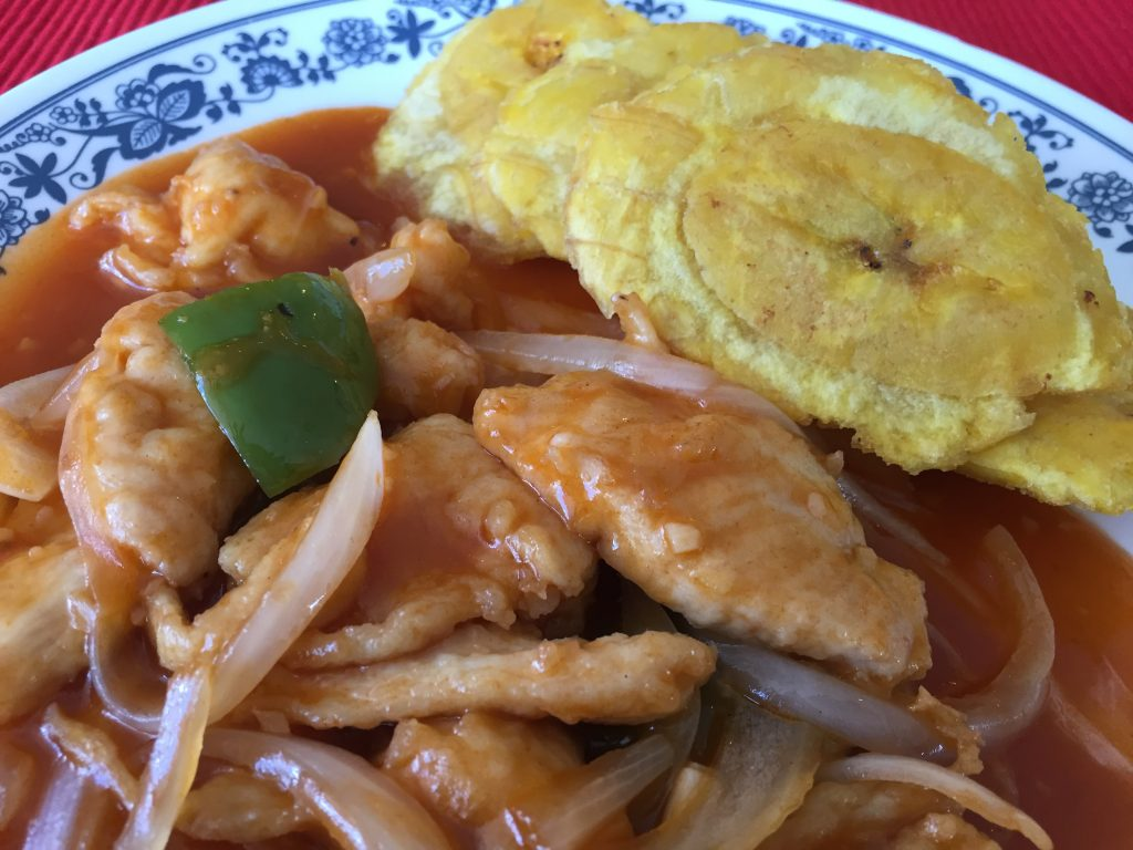 Chicken Enchilado with Tostones