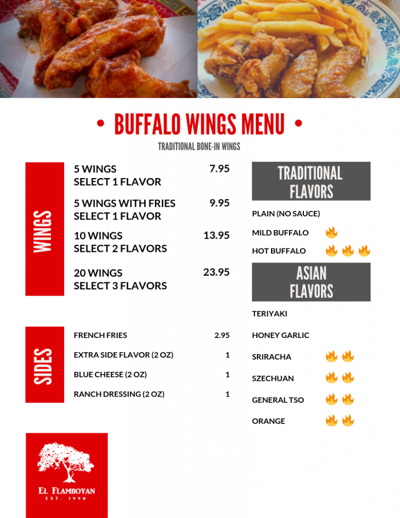 Buffalo Wings Menu Orlando, FL